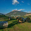 Bales of hay on the hillside below Civitella del Tronto, Abruzzo