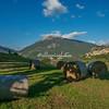 Bales of hay on the hillside below Civitella del Tronto, Abruzzo