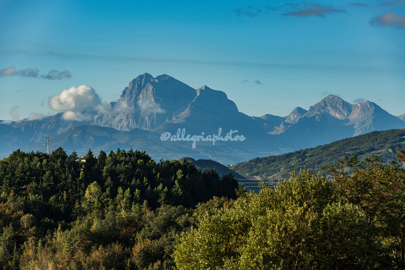 The Gran Sasso rises above the Apennines in the Abruzzo, Italy