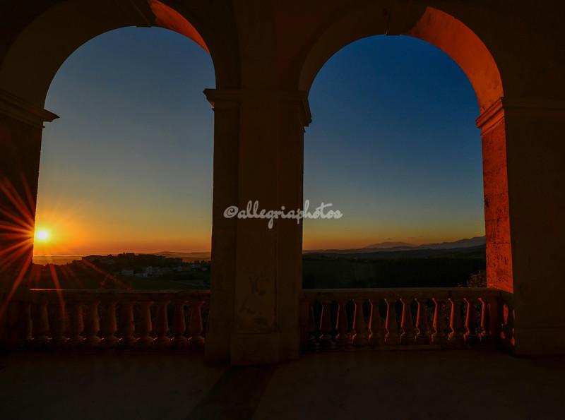 Sunrise through the Arches on the piazza at Civitella del Tronto, Abruzzo