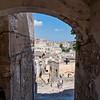 Looking through an archway, Matera, Basilicata, Italy