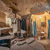 The preserved interior of a cave dwelling, Matera, Basilicata, Italy