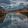 Looking upriver from the Ponte Vecchio, Florence, at sunrise