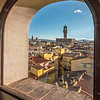 Window of Case degli Acciaiuoli with view of Palazzo Vecchio, Florence