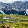 Photographing the alpine meadow above Ortisei in the Dolomites, italy