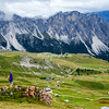 Photographing the alpine meadow above Ortisei, Val Gardena, Dolomites, Italy