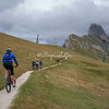 Cycling across the trails of Europe's highest Alpine Meadow in the Val Gardena, South Tyrol, Italy