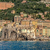 The Fort and Basilica in Camogli from the water, Liguria
