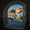 Looking through the arches of the marina, Camogli, Liguria