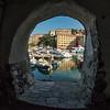 Looking through the arches of the marina, Camogli, Liguria