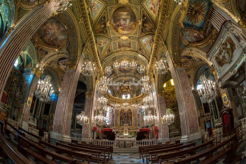 The inside of the Basilica, Camogli, Liguria