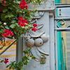 Flowers and sculpture, Cisternino, Puglia