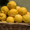 A basket of lemons outside a restaurant in Rome