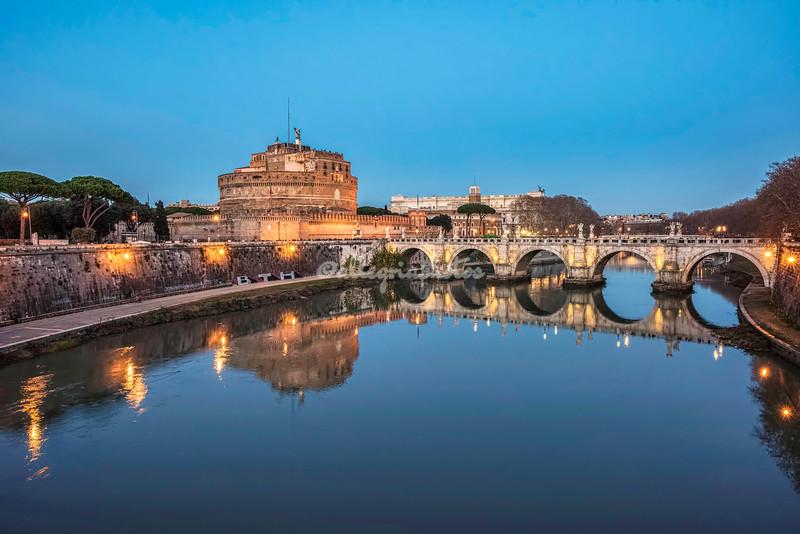 Castel Sant'Angelo after sunset, Rome