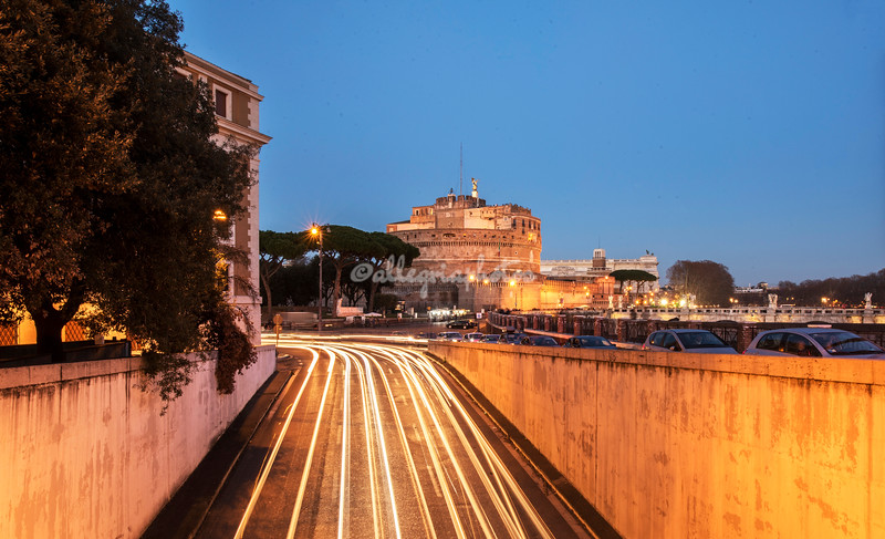 Castel Sant'Angelo from above a roadway at night