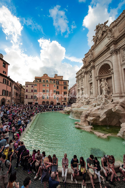 Crowds at the newly reopened Fountain of Trevi, Rome