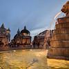 Fountain and churches, Piazza del Popolo