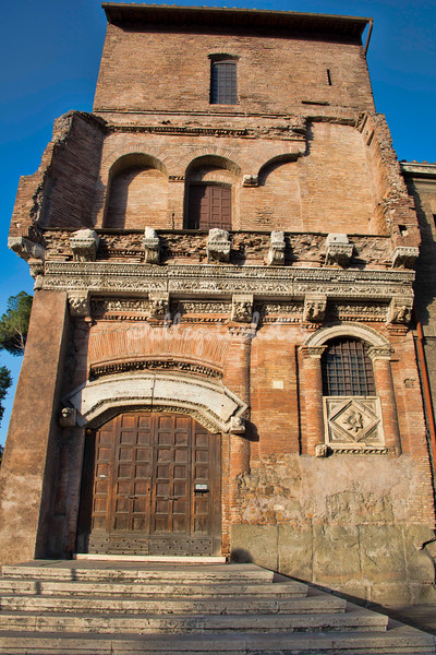 The Casa dei Crescenzi studded with ancient fragments includes a 10th century tower. The house was built by a powerful family to guard the Tiber River at the site where Rome's first port once stood.