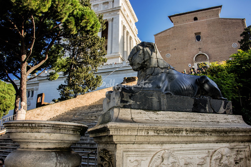 Egyptian lion fountain at foot of Ara Coeli steps