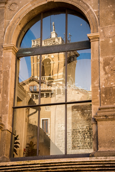 Reflection of the bell tower, Palazzo Senatorio
