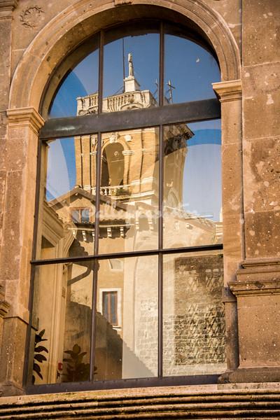 Reflection of the bell tower, Palazzo Senatorio