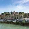 A view of Aventino from across the Tiber River.