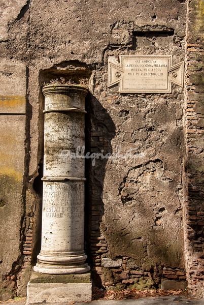 The One Kilometer marker on the Appia Antica outside the Roman walls