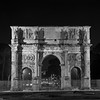 Black and White image of the Arch of Constantine by night