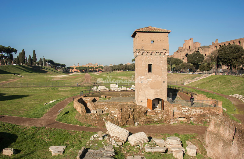 Excavations of a medieval mill and Roman ruins of the Circo Massimo, Rome