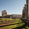 The Colosseum as seen from the Temple of Venus and Rome