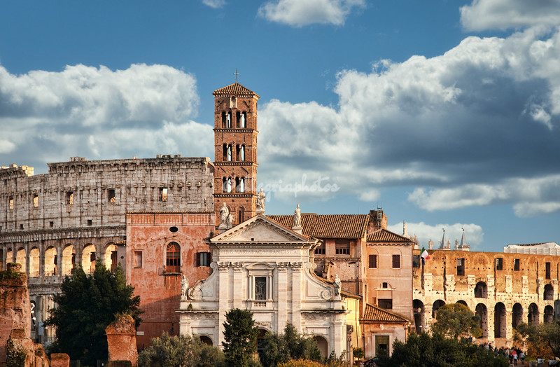San Francesca Romana and the Colosseum from the Forum