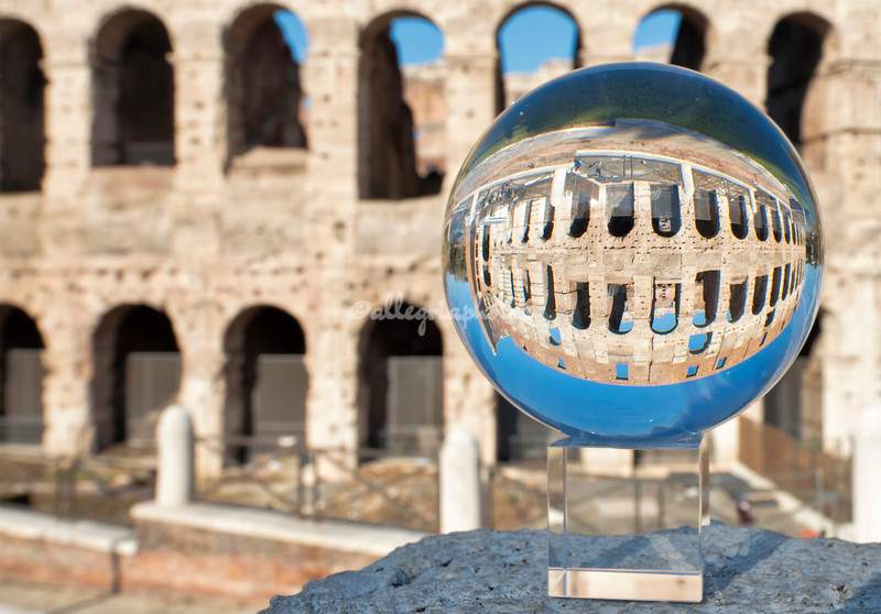 Crystal ball reflection of the Colosseum, Rome