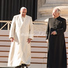 Pope Francis walking around Vatican Square