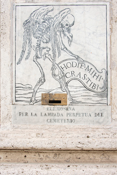 Alms box to pay for lighing in cemetery, Chiesa di Orazione e Morte, Via Giulia, Rome