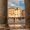Looking through the Pantheon columns to Piazza Rotonda