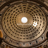 The oculus in the roof of the Pantheon dome