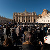 The faithful at St Peter's Square waiting for a glimpse of the Pope