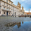 Reflection in Piazza Navona after a rainstorm, Rome