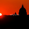 Sunset and silhouette of St Peters Basilica, Rome