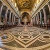 The Cosmati floor and nave, Basilica Sotterranea Di San Crisogono, Trastevere, Rome.