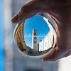 Reflection through a crystal ball of Giotto's Bell Tower, Florence