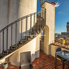 Stairway to roof terrace in the Case degli Acciaiuoli, Florence,