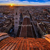 Sunset over Florence with Giotto's Bell Tower in the foreground. Taken from atop the Cupola, The Duomo.