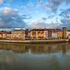 View across the River Arno between Ponte Santa Trinita and Ponte Vecchio, Florence