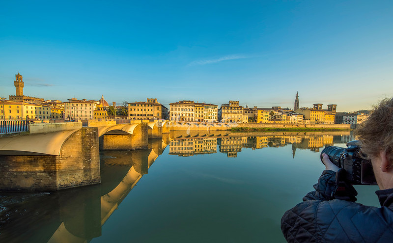 View across the River Arno by Ponte Sante Trinita, Florence, in early morning light