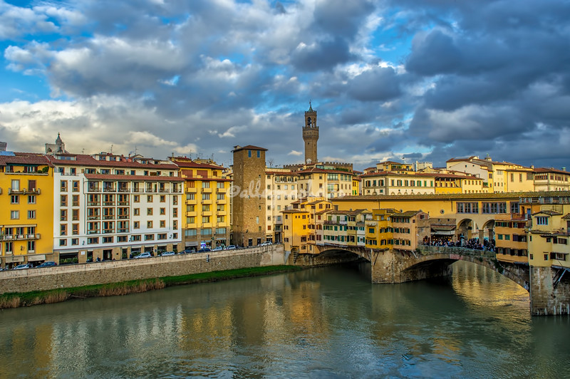 Ponte Vecchio with the Tower of Palazzo Vecchio in the background, Florence