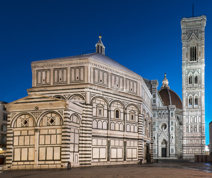The Baptistry, Duomo and Bell Tower in dawn light, Florence