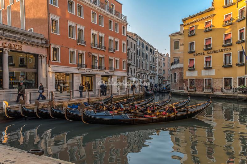 Gondolas moored at Bacino Orseolo, Venice