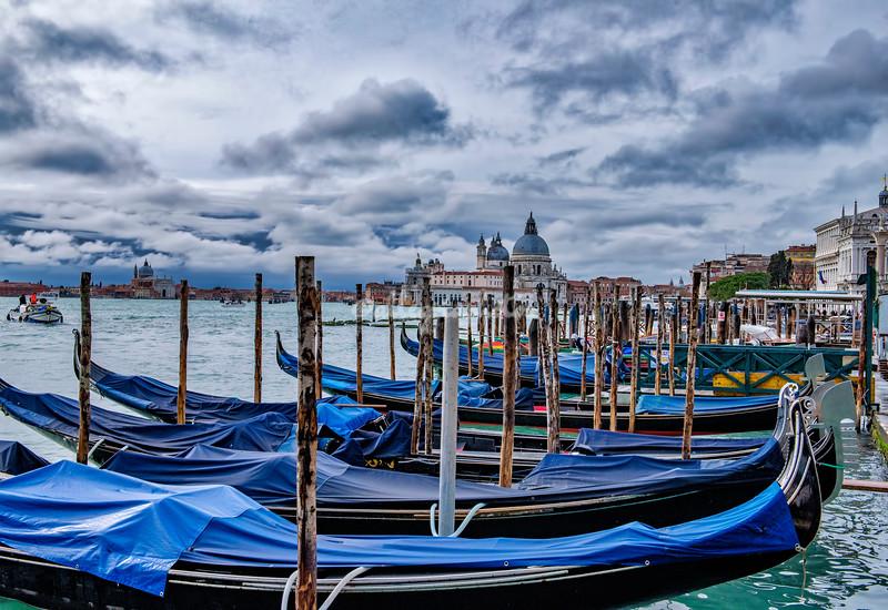 Looking across the lagoon towards Santa Maria De La Salute, Venice, on a stormy day