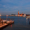 Twilight over Venice with San Giorgio Island visible across the lagoon.